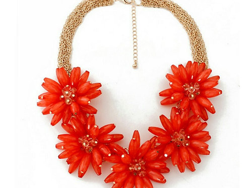Full Bloom Statement Necklace Set - Fire Red