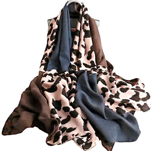Leopard Print Fashion Scarf - Blue
