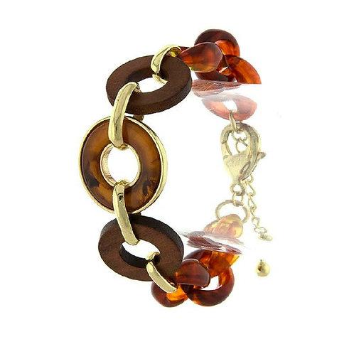 Tortoise & Wood Linked Bracelet