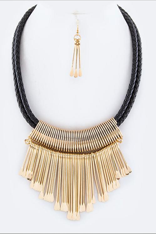 Fringe Bar Statement Necklace Set