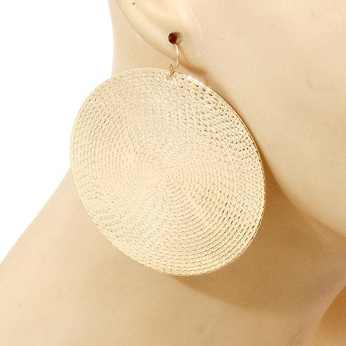 Gold Groovy Disc Earrings