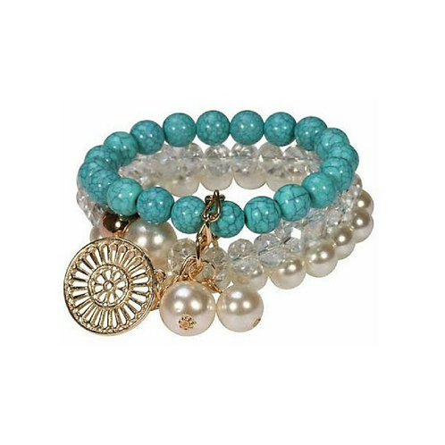 Turquoise and Pearl Beads Bracelet Set
