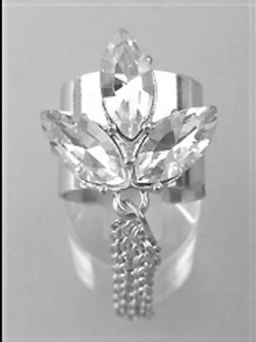 Silver Stone Cuff Tassel Accent Ring