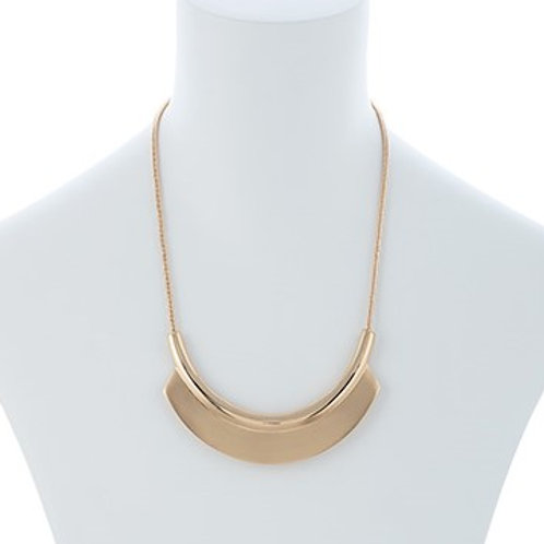 Gold or Silver Brushed Metal Crescent Necklace