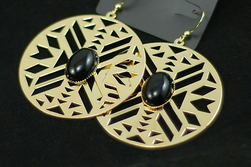 Gold Aztec Cutout Drop Earrings