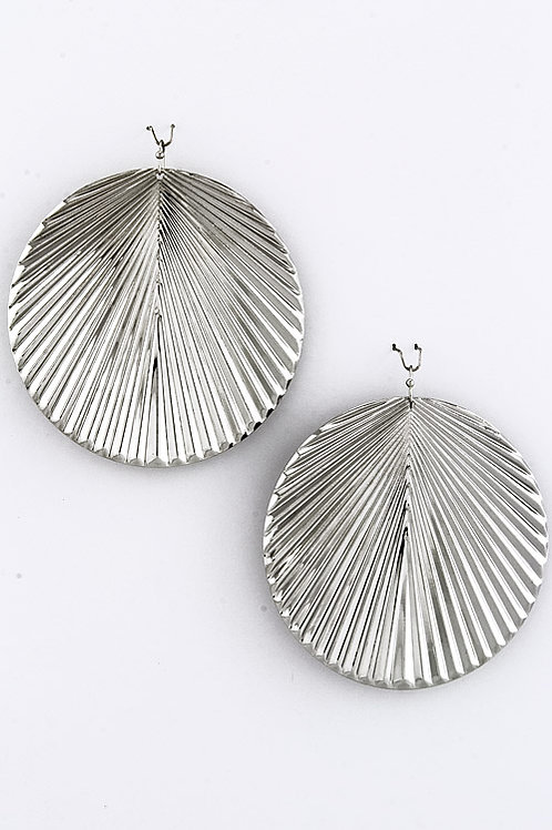 Andisa Jagged Round Earrings - Silver