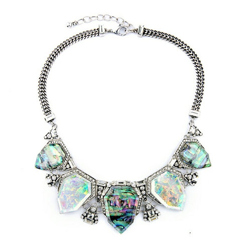 Crystal Abalone Statement Necklace Set