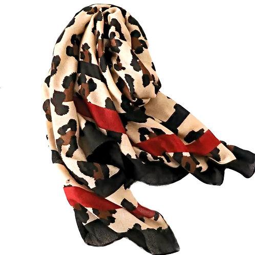 Leopard Print Fashion Scarf - Red