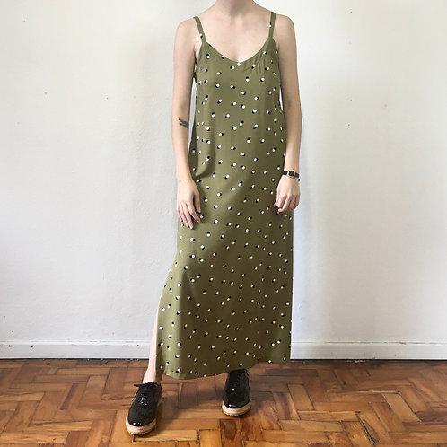 Vestido Slip Dress verde bolinhas