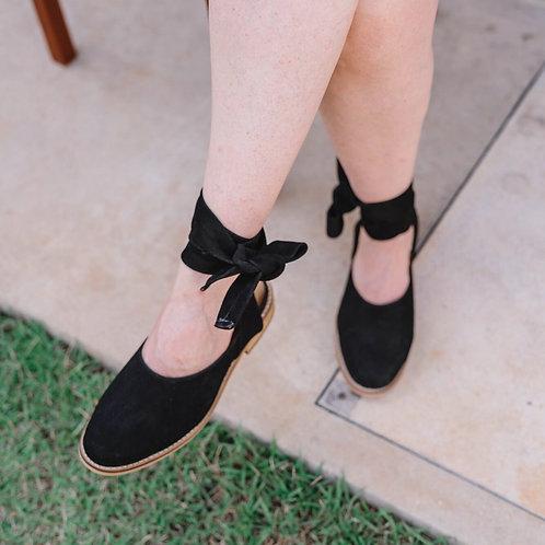 Sapato laço camurça preto