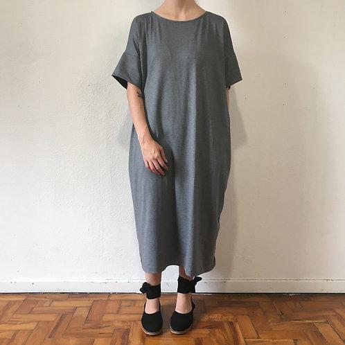 Vestido de Malha Cinza Mescla