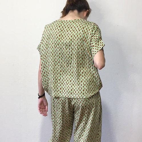 Blusa Rosana estampa verde/ocre