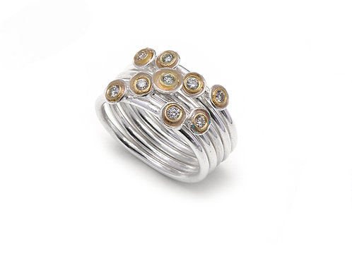 Shimara Carlow- Silver Cup Cluster Stack with Nine Diamonds