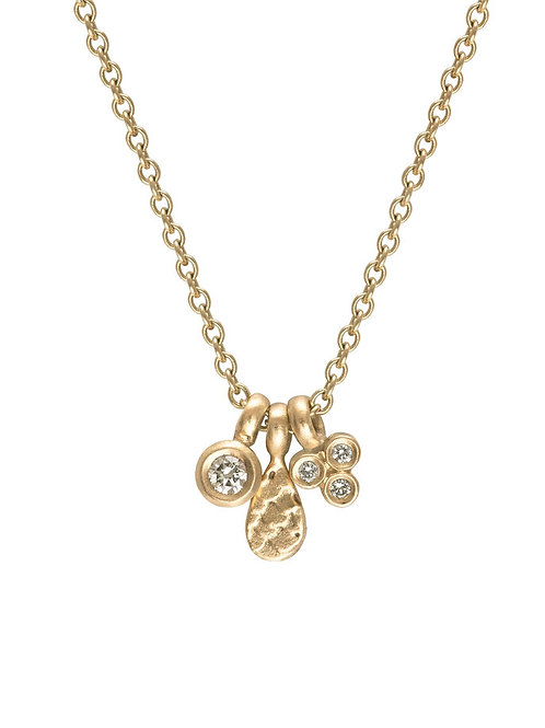 Alison Macleod- Catkin Tiny Diamond Charm Necklace 9ct Yellow Gold