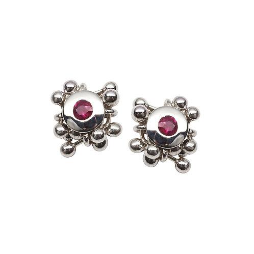 YEN- Molecule Ruby Cluster Earrings