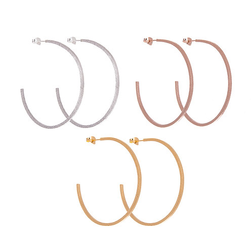 Lucy Thompson Hoops Large Textured in Silver