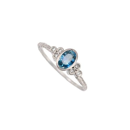 Alison Macleod- Catkin Ceylon Sapphire Ring with Tri Diamond Shoulders