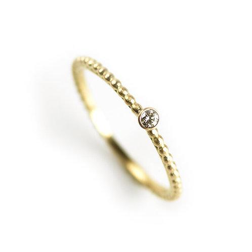 Alison Macleod- Single Dotty Diamond Solitaire Ring 18ct Yellow Gold