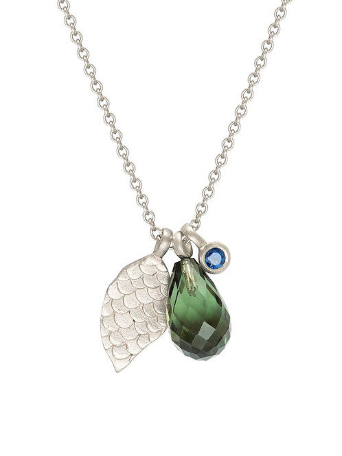 Alison Macleod- Catkin Tourmaline and Leaf Charm Necklace 9ct White Gold