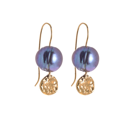 Moon Dot Pearl Drop Earrings Gold Plated with Peacock Pearl