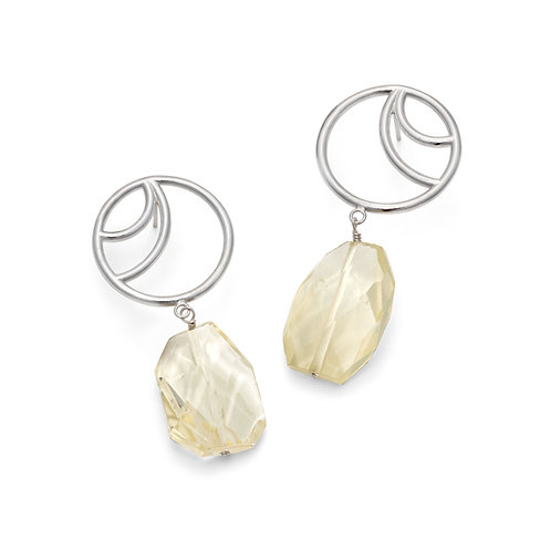 Julia Smith- Double Crescent Studs with Faceted Citrines