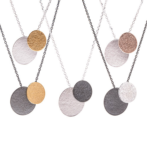 Lucy Thompson Textured cluster double oval pendant on oxidised or silver chain