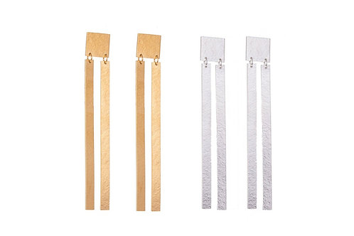 Lucy Thompson Double strip long statement silver earrings with 22ct gold plating