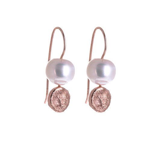 Moon Dot Pearl Drop Earrings Gold Plated in Rose Gold