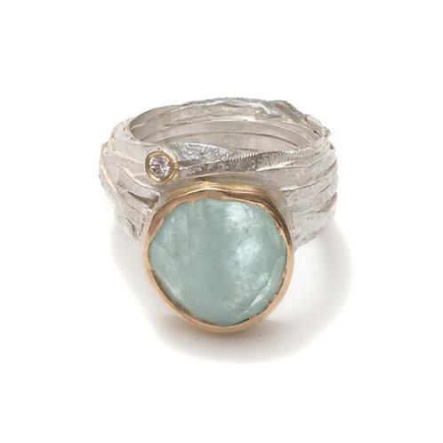 Shimara Carlow- Silver Wrap Ring with Rose Cut Aquamarine