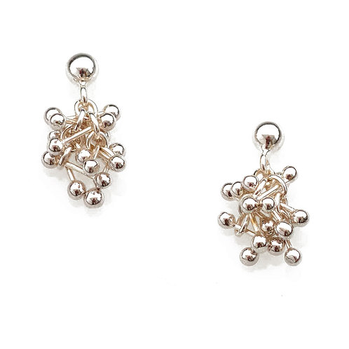 YEN- Silver Small Cluster Earrings With Posts