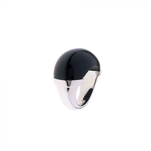 Simon Harrison Jewellery- Maia Stainless Steel Domed Ring Black