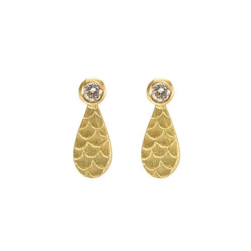 Alison Macleod- Catkin Diamond Droplet Studs 18ct Yellow Gold