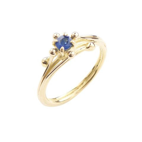YEN- Yellow Gold Blue Sapphire Solitaire Ring