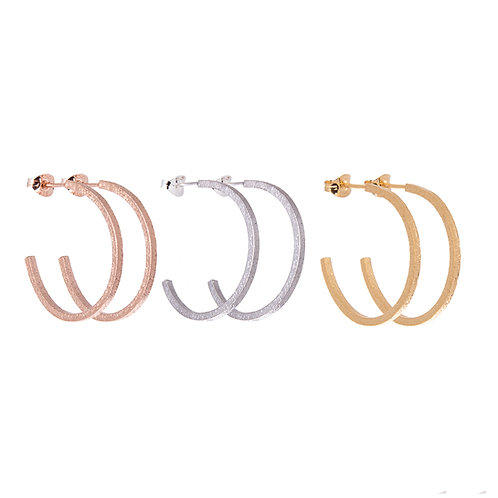 Lucy Thompson Hoops Small Textured in silver