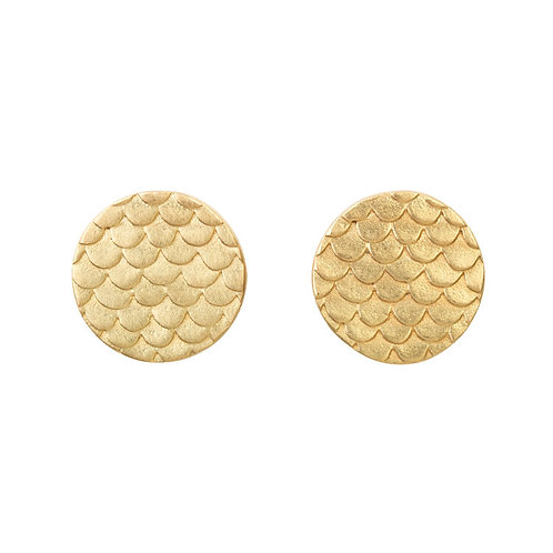 Alison Macleod- Catkin Coin Studs in 18ct Yellow Gold