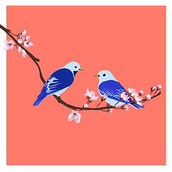 Pink Flowers - Blue birds.jpg