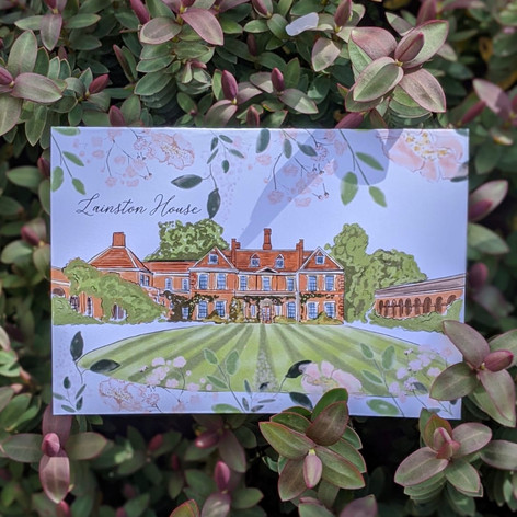 Wedding Invitation - Watercolour Venue and Flowers / Foliage