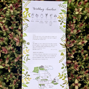Fold Out Wedding Invitation - Illustrated Venue / Map / Timeline / Flowers