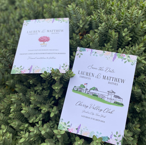 Save the Date - Illustrated Venue and Flowers