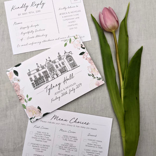 Fold Out Wedding Invitation - Illustrated Venue, Wedding Timeline and Flowers