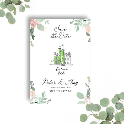 Save the Date - Illustrated Venue / Flowers