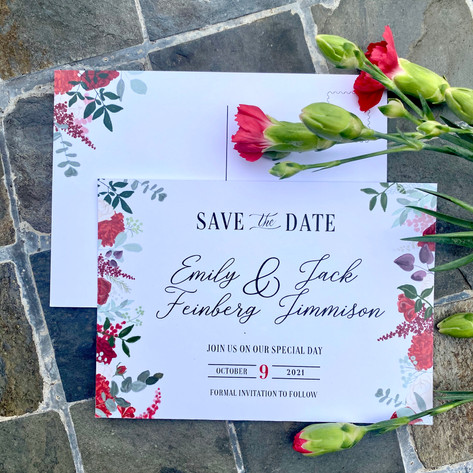 Save the Date - Illustrated Flowers & Foliage Matching Your Wedding Flowers