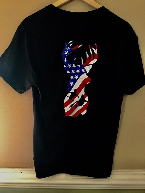 American Flag T-Shirt Embedded in our Q&R Logo