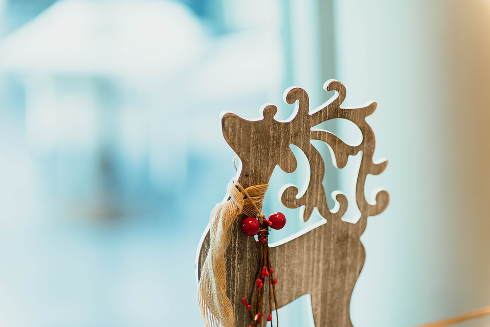 Wooden reindeer decorated