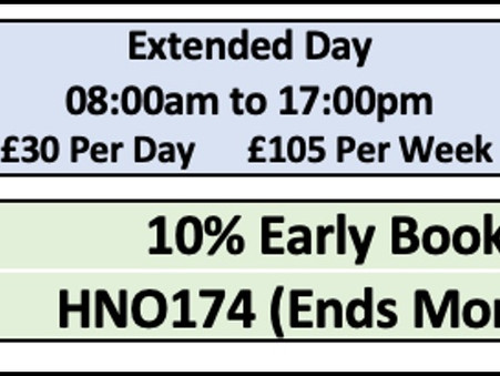 SUMMER 2021 10% Booking Discount Ends Friday 9th July