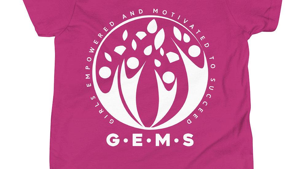 GEMS (White) Youth Short Sleeve T-Shirt