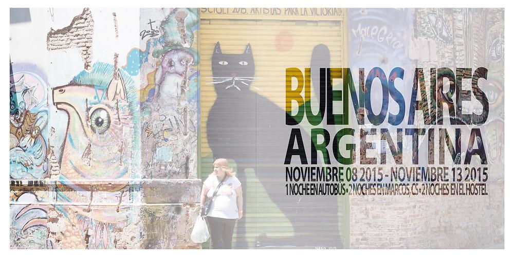 Buenos Aires, Frau vor Garagentor mit Katze, Argentinien