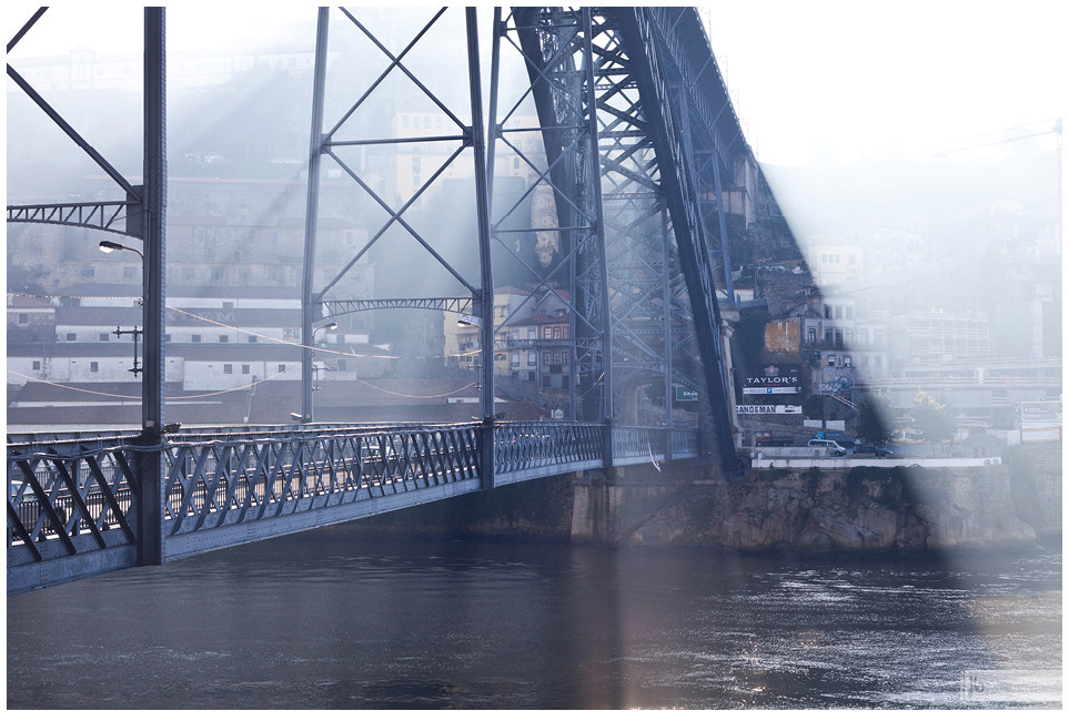 Brücke im Gegenlicht, Brücke, Gegenlicht, Porto, Portugal