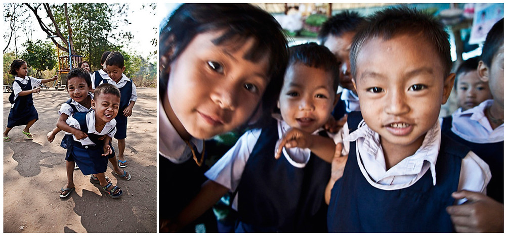 burmesische Schule in Thailand, Kinder, Schulkinder, Schulhof