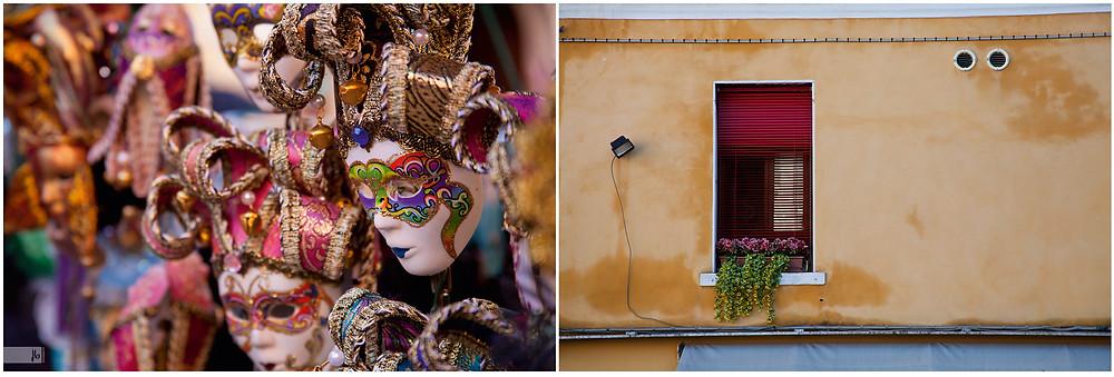 Salz auf Reisen, venezianische Masken, Venedig, Italien